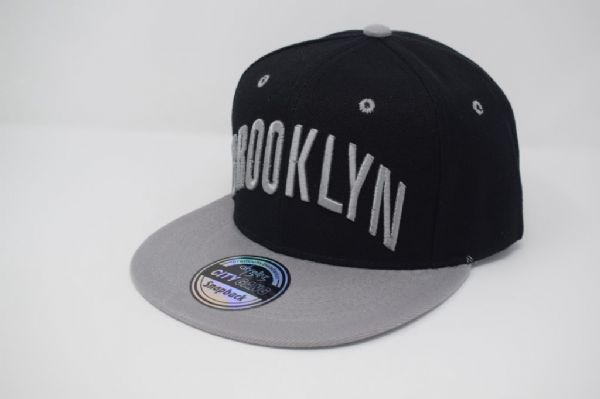 C4887- 'BROOKLYN' Black/Grey Snapback Caps, one size fits all adjustable